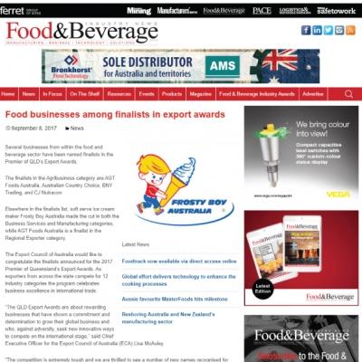 Frosty Boy: Finalist in Premier of Queensland's Export Awards